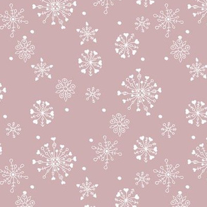 Little snow flake and crystal sparkle abstract winter wonderland design neutral nursery trend mauve pink white