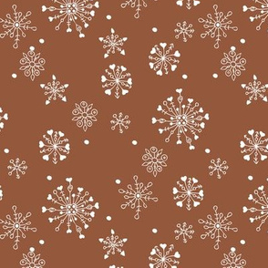Little snow flake and crystal sparkle abstract winter wonderland design neutral nursery trend rust white