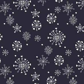 Little snow flake and crystal sparkle abstract winter wonderland design neutral nursery trend midnight navy blue