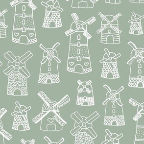 Little windmills of the netherlands holland travel icon design sage green