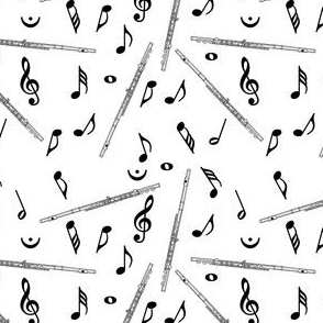 Flute Music Note Pattern White