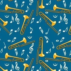 Trombone Music Notes Pattern Dark Blue