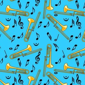 Trombone Notes Pattern Light Blue