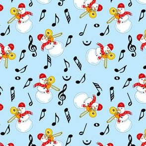 Trombone Snowman Music Notes Pattern Light Blue
