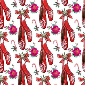 Christmas ballet shoes , candy canes, poinsettia and holly with mistletoe