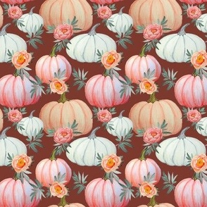 Peach pumpkins and peony floral bown and coral