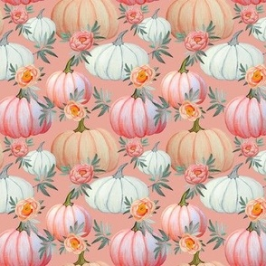 Pumpkin and peony peach watercolor peach