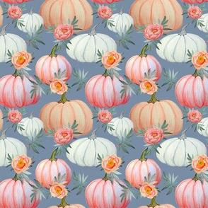 Pumpkin and peony watercolor, lark grey