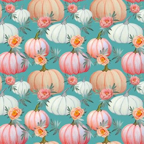 Pumpkin and peony watercolor mid teal