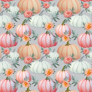 Pumpkin and peony watercolor, pale grey