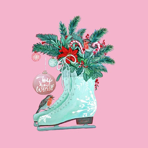 Christmas Ice skates, robins, candy canes, poinsettia and holly