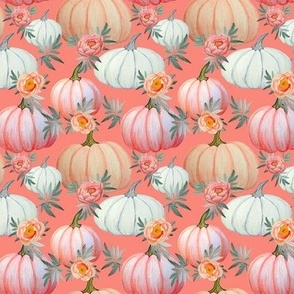 Pumpkin and peony watercolor  coral