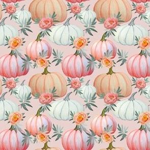 Pumpkin and peony watercolor blush pink