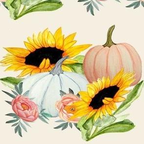 pumpkin and sunflower watercolor  art