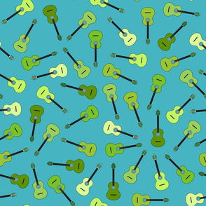 musical snowflakes GREEN guitars mixed X on green (66b2c0)
