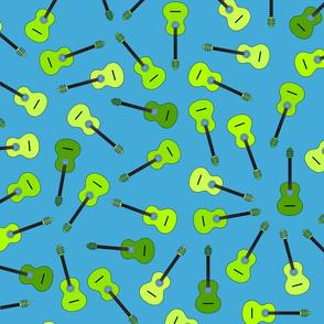musical snowflakes GREEN guitars mixed XXXxX on green (61a9d4)
