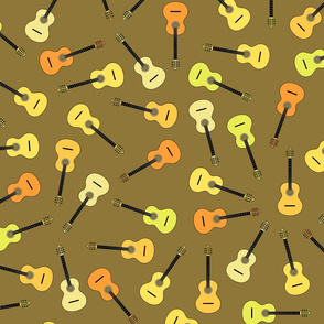 musical snowflakes ORANGE-GREEN guitars mixed Xd on brown (8a7842)