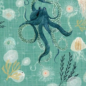 Octopus on teal stamp