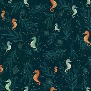 seahorse on midnight