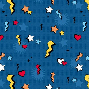 Retro Cartoon text design comic lightening bolts hearts and stars on blue