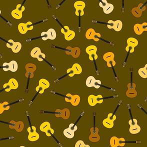 musical snowflakes R ORANGE guitars mixed Xb on brown (584b00)