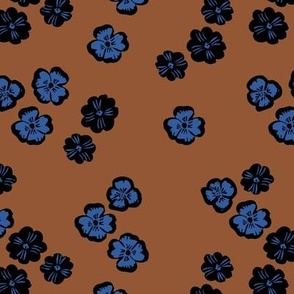 Vintage violet blossom autumn winter garden botanical vintage leaves and flowers fall nursery seventies style rust brown blue