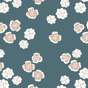 Vintage violet blossom autumn winter garden botanical vintage leaves and flowers fall nursery seventies style blue beige white