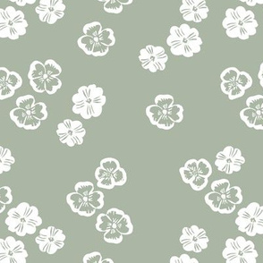 Vintage violet blossom autumn winter garden botanical vintage leaves and flowers fall nursery seventies style sage green white
