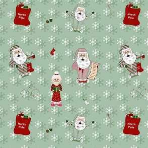 Santa and Mrs Claus in Pyjama's and Nightgown