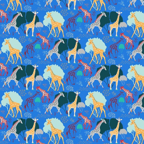Giraffe Safari Brighter Blue