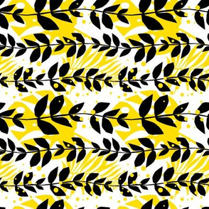 Leaves in Black White and Yellow