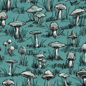 Toile Wild Mushrooms Sketchbook | Green