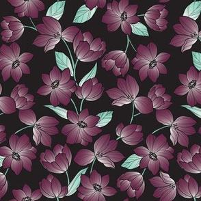 Dark Flower in Wine and Black