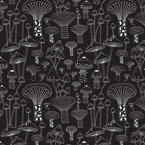 Black and white mushroom forest