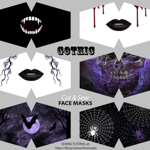 6 Gothic Halloween Scary Face Mask Cut outs