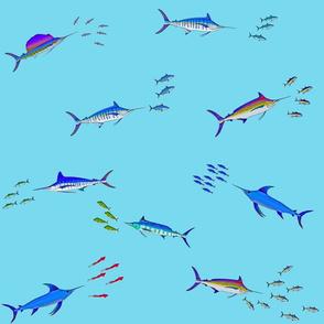 Billfish Assault Scatter vivids on cyan blue