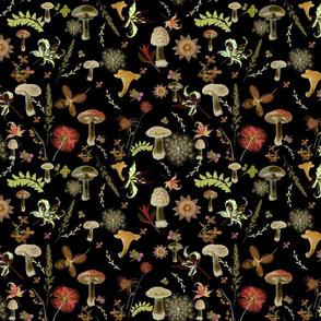 mushroom garden dark floral