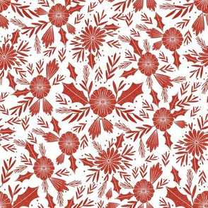 christmas woodcut botanical fabric - block print holiday design - white and red