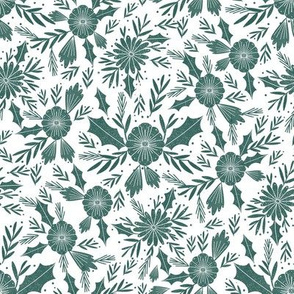 christmas woodcut botanical fabric - block print holiday design -  white and spruce