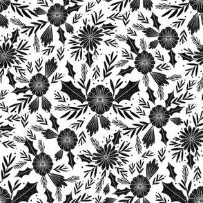 christmas woodcut botanical fabric - block print holiday design - white and black