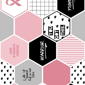 Warrior: Breast Cancer hexagon cheater quilt panel in pink and black