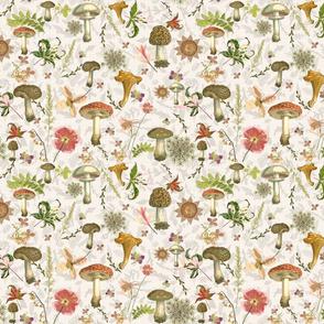 mushroom floral linen poster sf