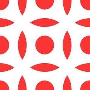 Geometric Pattern: Intersect Circle: White/Red