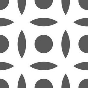 Geometric Pattern: Intersect Circle: White/Granite