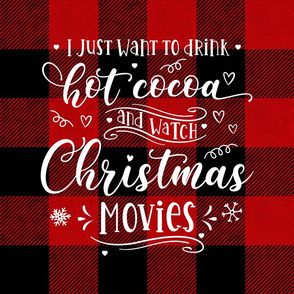 Cocoa and Christmas Movies 18 inch square red buffalo plaid