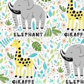 African Elephants Giraffes