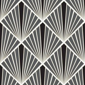 Art Deco Fans - Black & White
