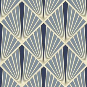 Art Deco Fans - Blue