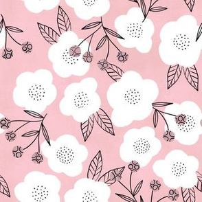 Modern floral (soft pink) (small scale)
