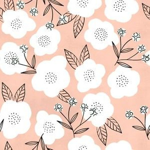 Modern Florals (Peachy Pink) (Small Scale)